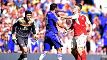 Chelsea striker Diego Costa, centre, tangled with the Arsenal defence more than once last season